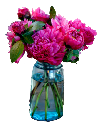 Blue mason jar with pink flowers