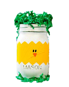 Mason jar easter basket chick