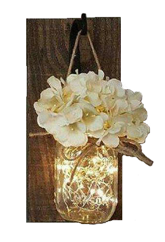 Mason jar fairy light flower wall sconce