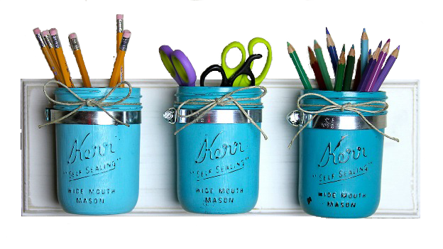 Mason jar office organizer