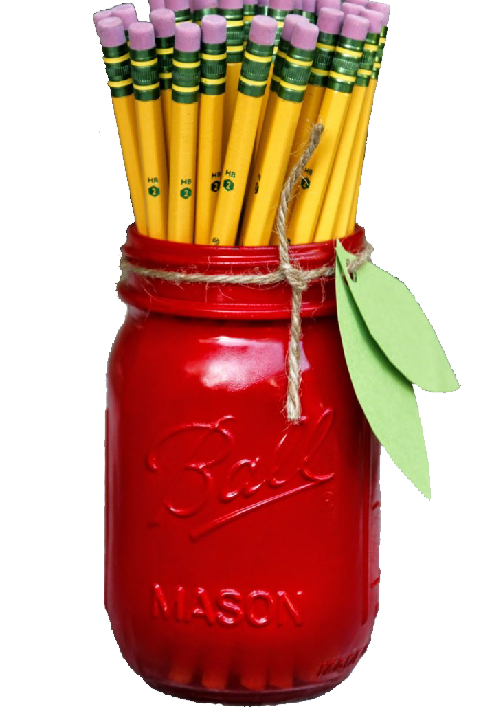 Mason jar apple pencil holder