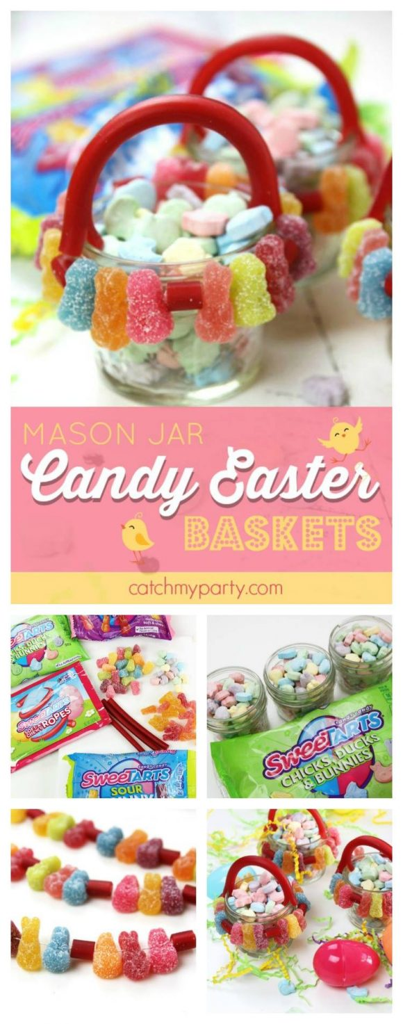 Easter basket mason jars candy decorations