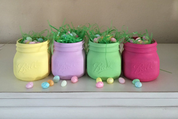 Easter basket pastel painted mason jars