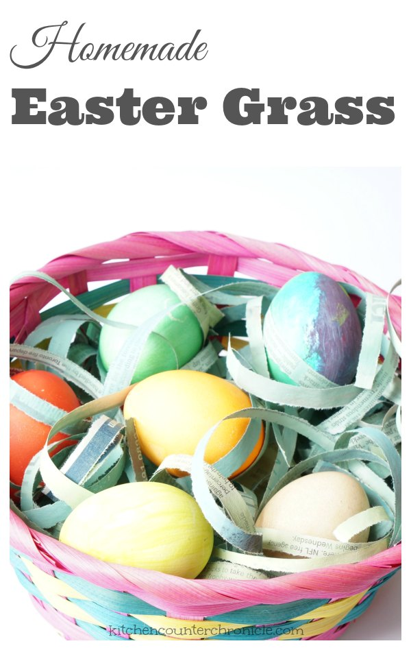 Easter basket grass newspaper