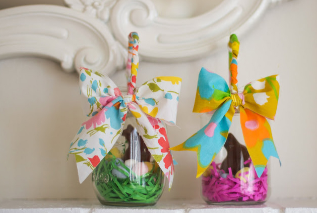 Easter basket mason jars fabric handle