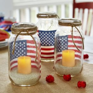 Memorial Day candle flag or photo votive mason jar