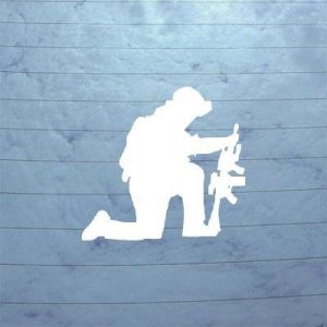 Kneeling soldier vinyl decal