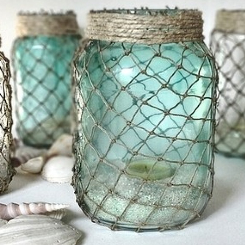 Mason jar fishnet summer home decor