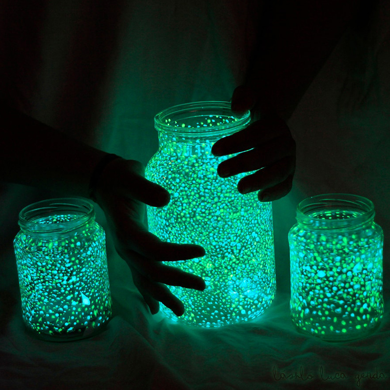 Mason jar glow in the dark firefly galaxy jar