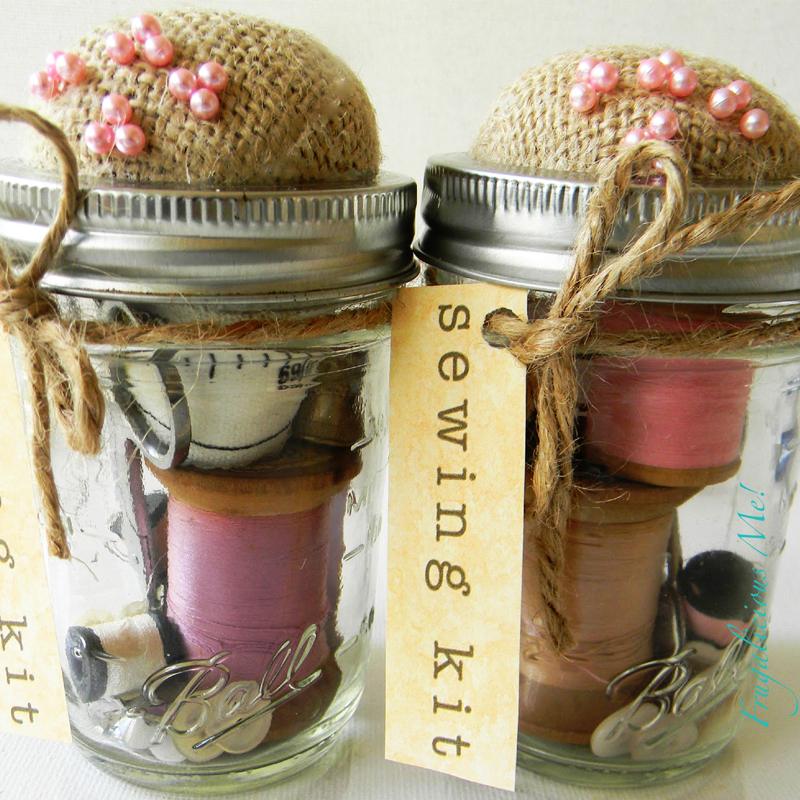 Mason jar burlap sewing kit
