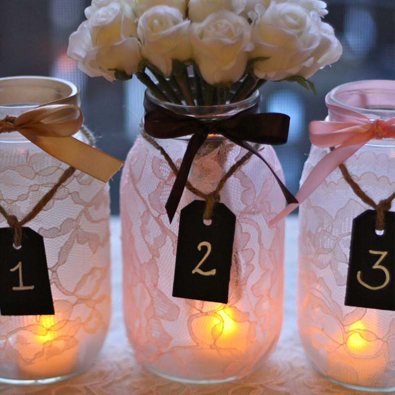 Mason jar pink lace wedding centerpieces