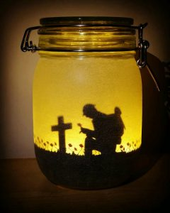 Memorial Day remembrance mason jar soldier kneeling at cross