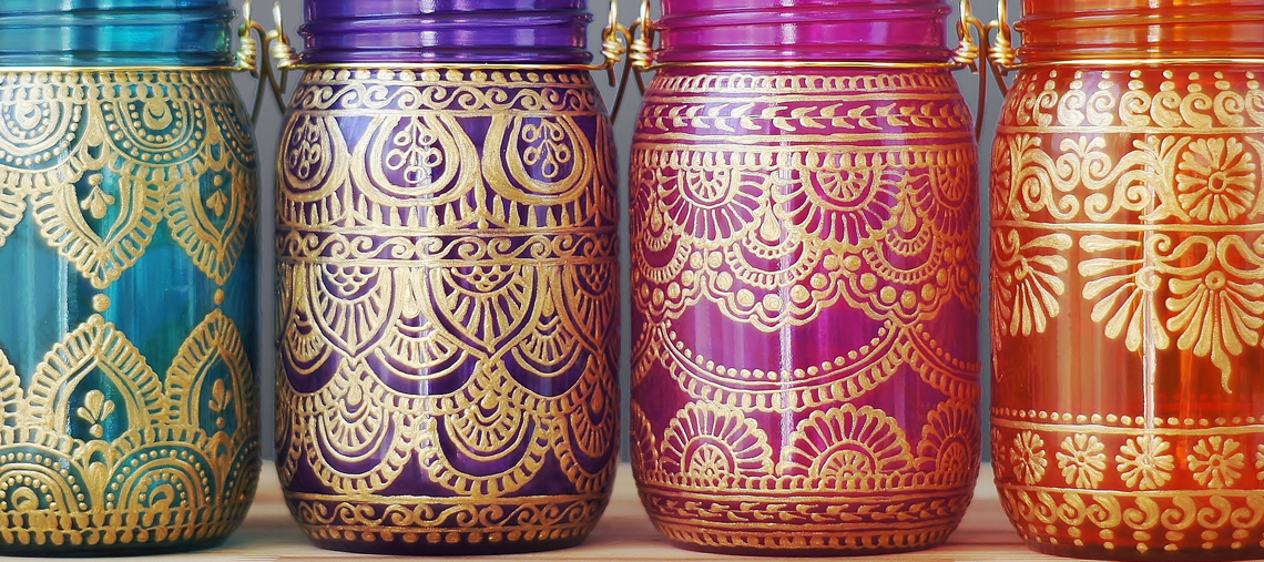 Moroccan printed mason jars