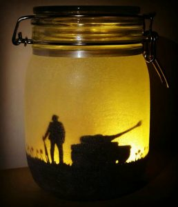 Memorial Day remembrance mason jar soldier and tank