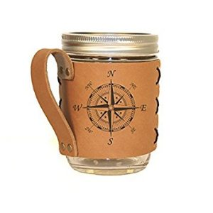Compass leather drink holder