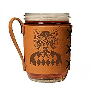 Hipster raccoon leather drink holder