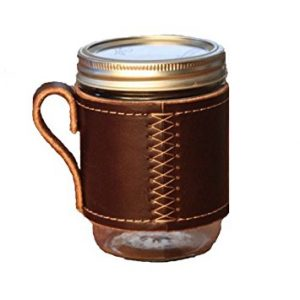 Stitched leather drink holder